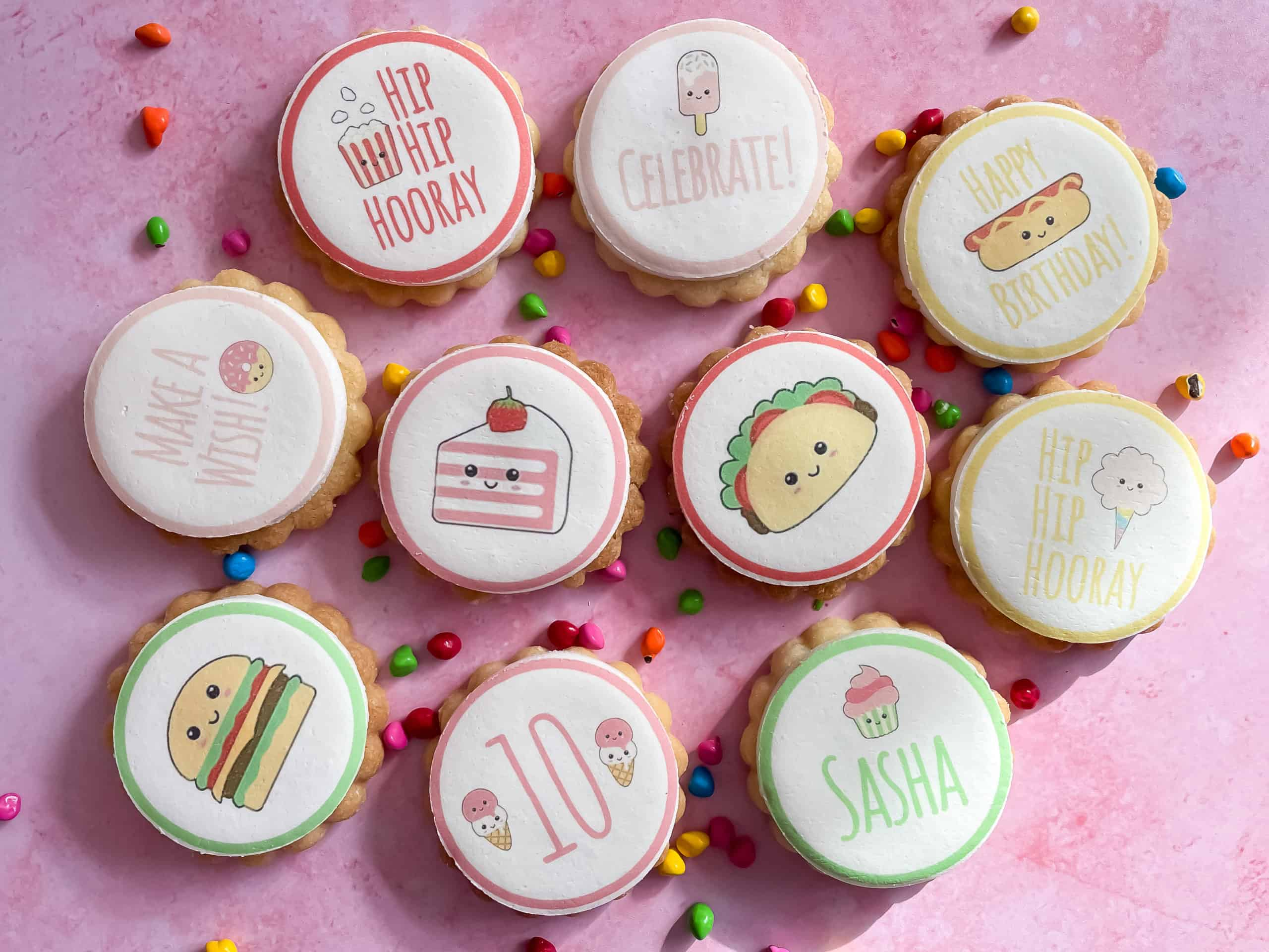 personalised children's party birthday biscuits