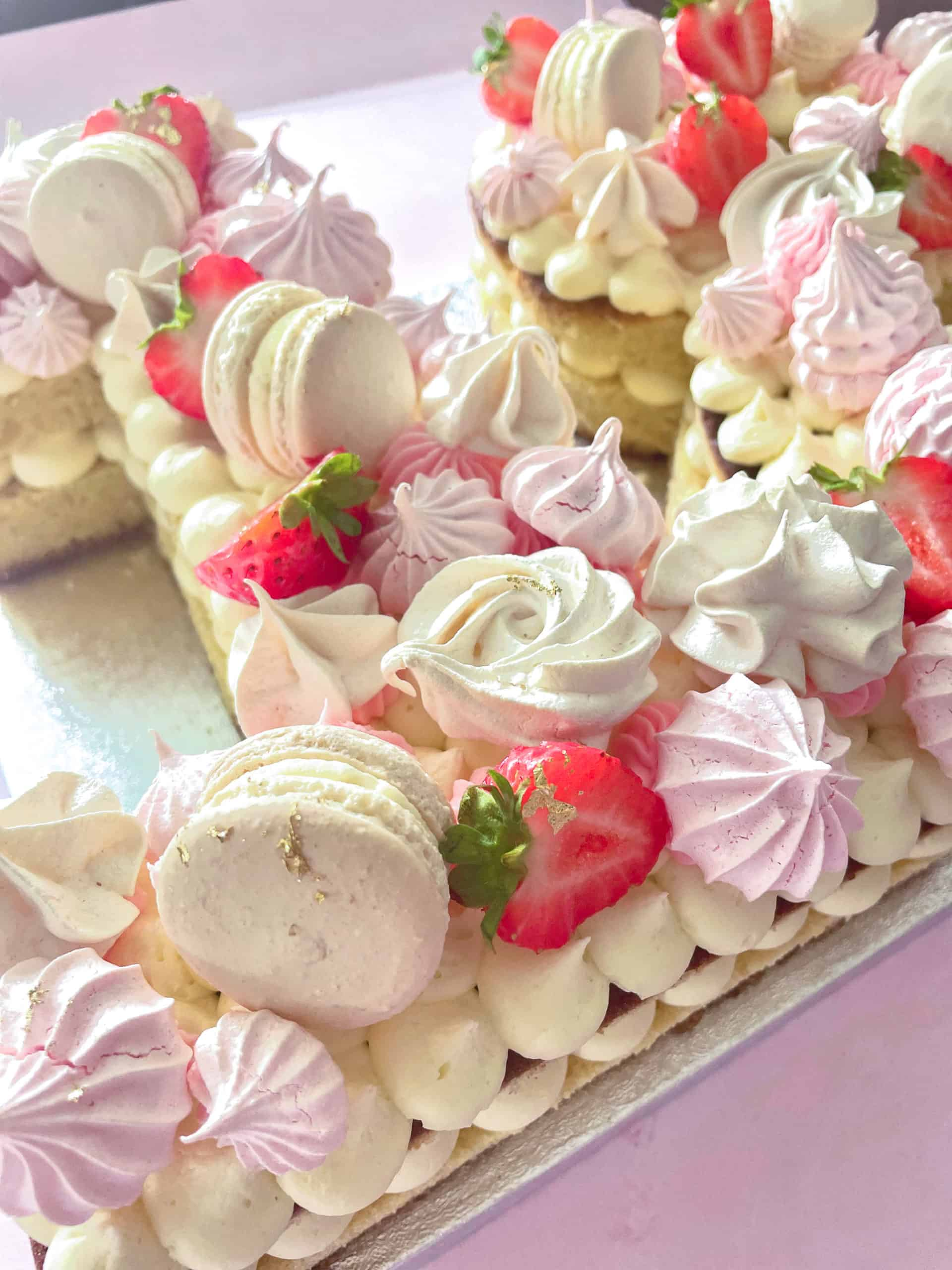 Macarons on Number cakes