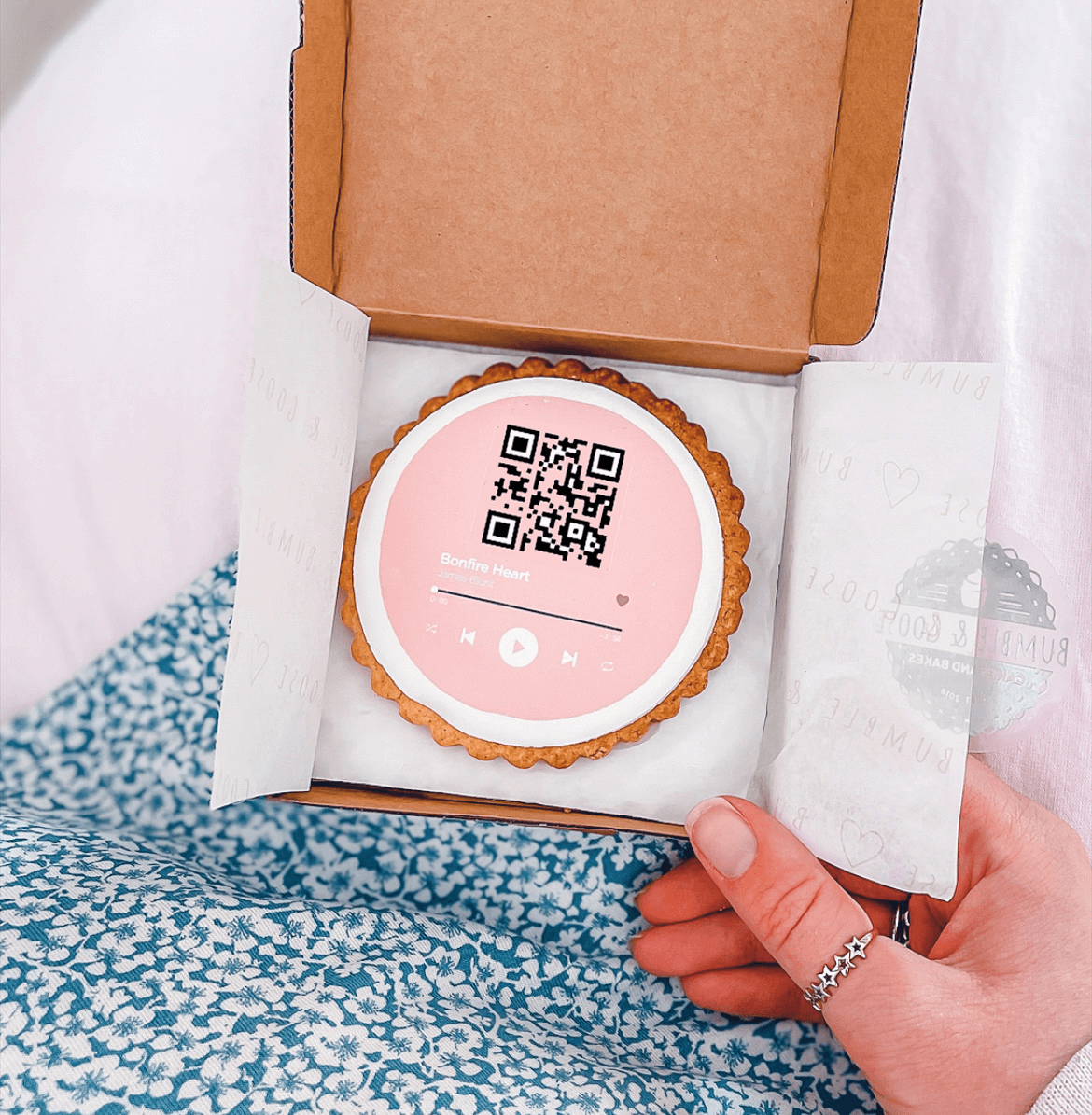 Music QR Code Personalised Gift Biscuit