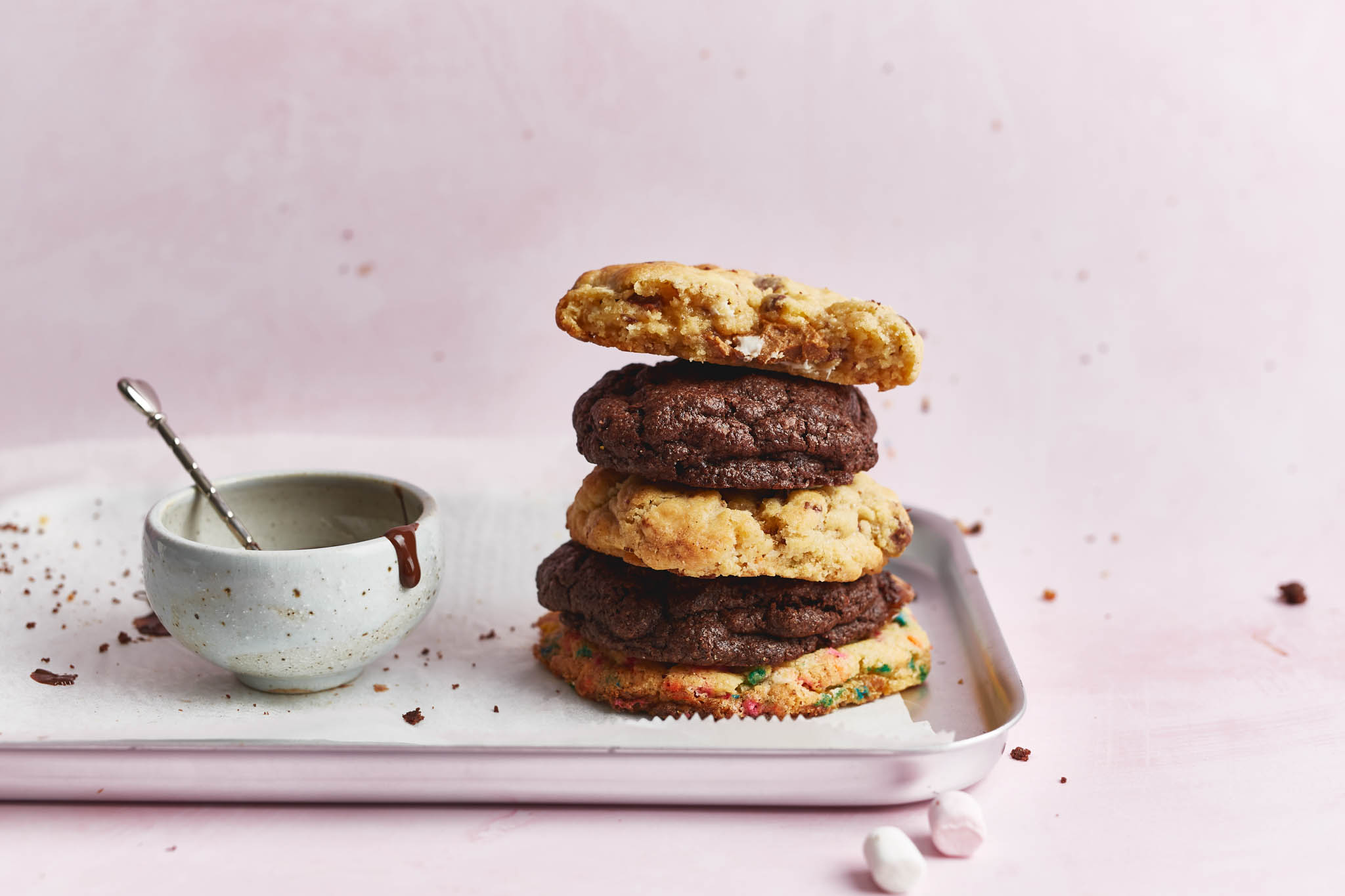 chocolate chunk cookie stack